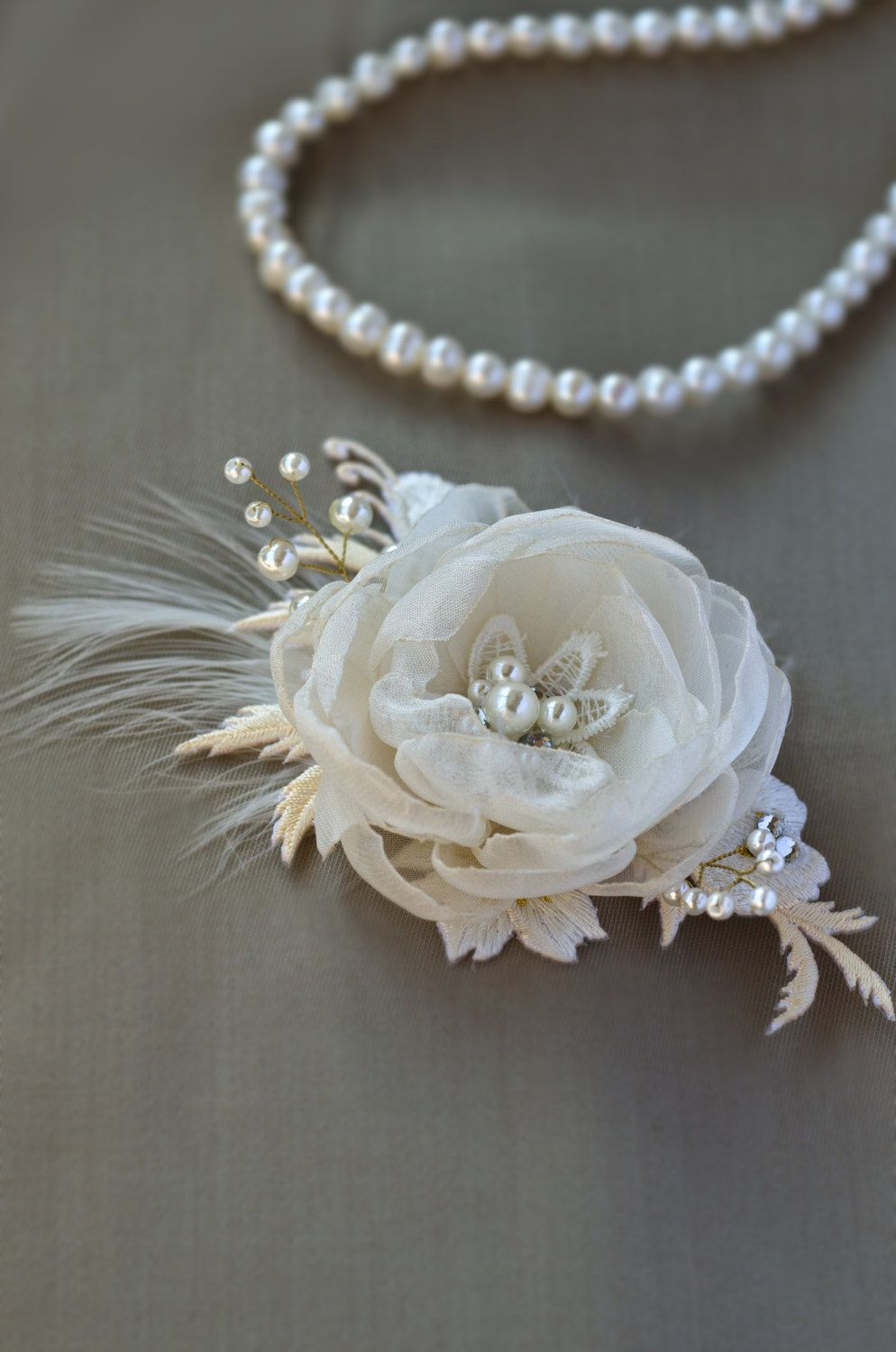 Ivory White Floral Bridal hair comb Wedding hair Flower ...
