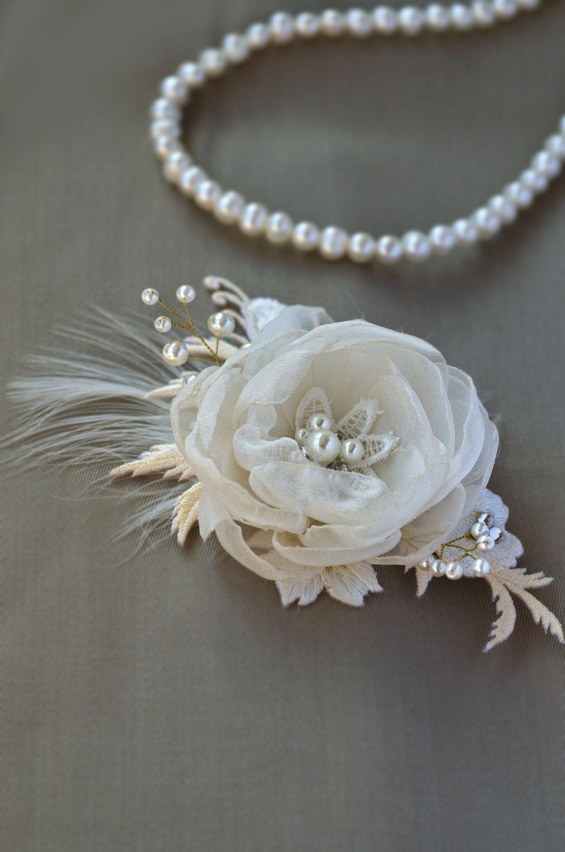 Ivory White Floral Bridal hair comb Wedding hair Flower