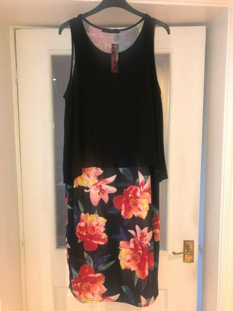 So Fabulous Very Black Floral 2 In 1 Jersey Midi Dress Size