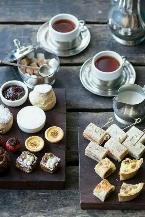 Tea time - include mini slices of today's quiche on the tiered plates with sandwiches, etc.