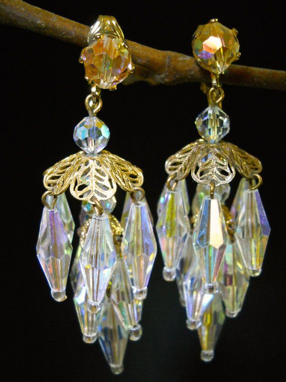 Chandelier Filigree Earrings Aurora Borealis by RenaissanceFair ...