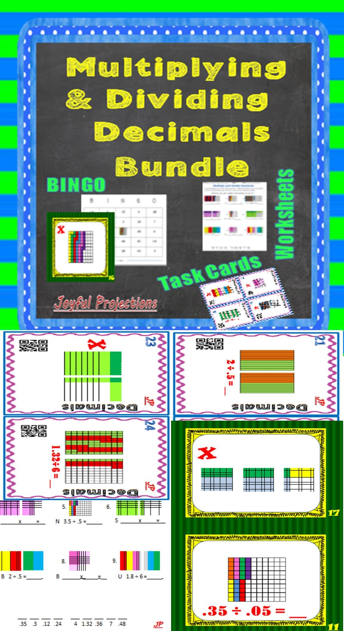 Multiply and Divide Decimals - Bingo, Task Cards, and Worksheets w ...