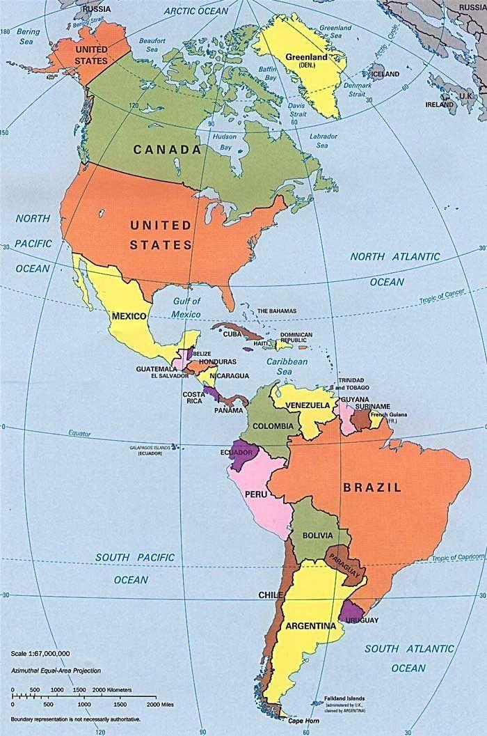 Resultado de imagen para mapa politico de las americas CON PAISES