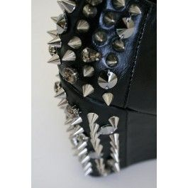 Dangerously HOT! Black Wedge Booties with Spikes and Rhinestones.