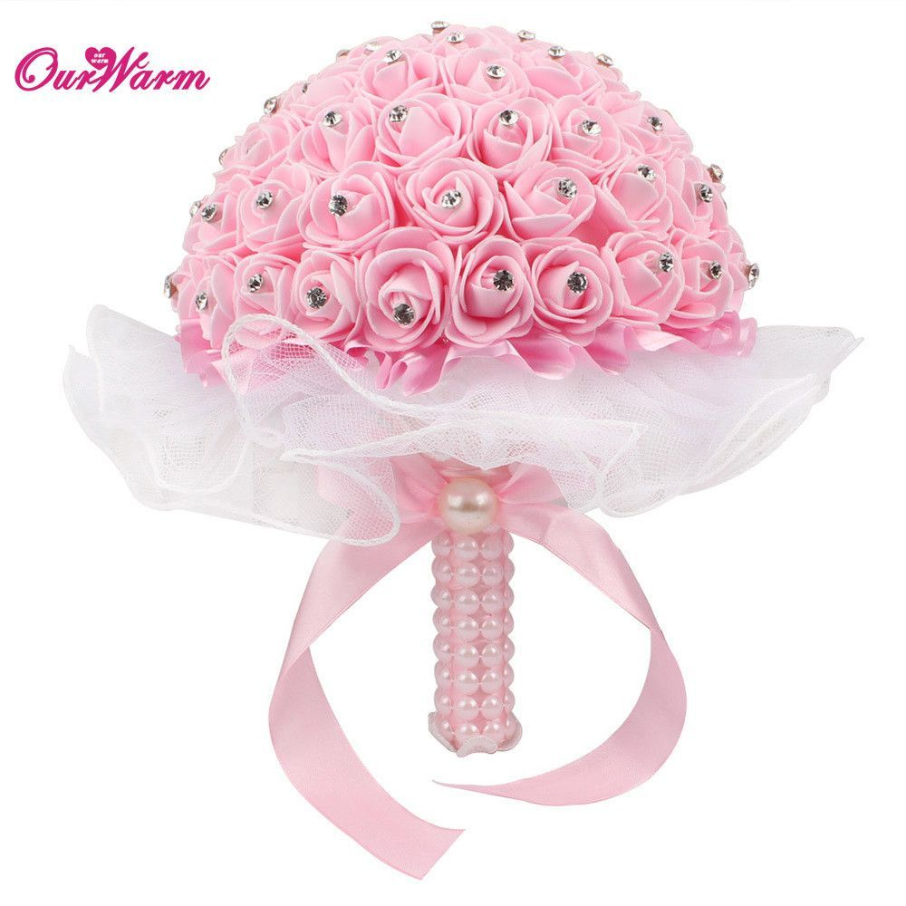 Bridal Bouquet Foam Roses Artificial Flowers Luxury Rhinestones Wedding Decoration Bouquet Handmade Silk Ribbon Flowers