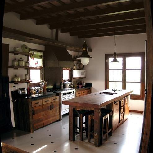 Mesa de trabajo estilo campo cocinas pinterest mesas for Quincho cocina comedor