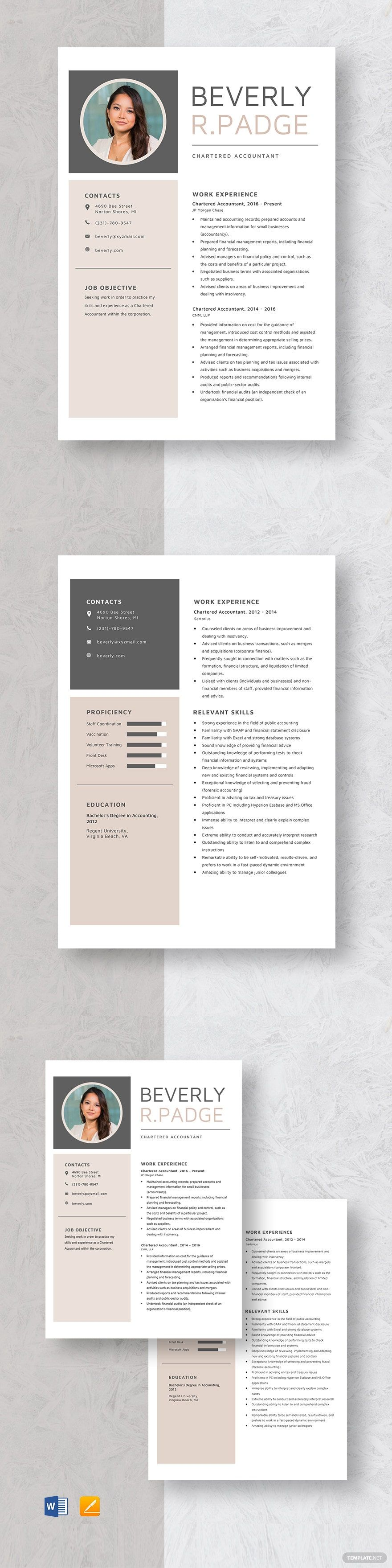 Chartered accountant resume template in 2020 nursing