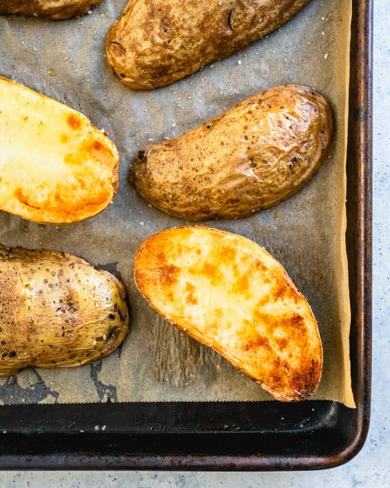 Quick Baked Potatoes Easy Shortcut A Couple Cooks Recipe In 2020 Quick Baked Potato Couple Cooking Easy Baked Potato