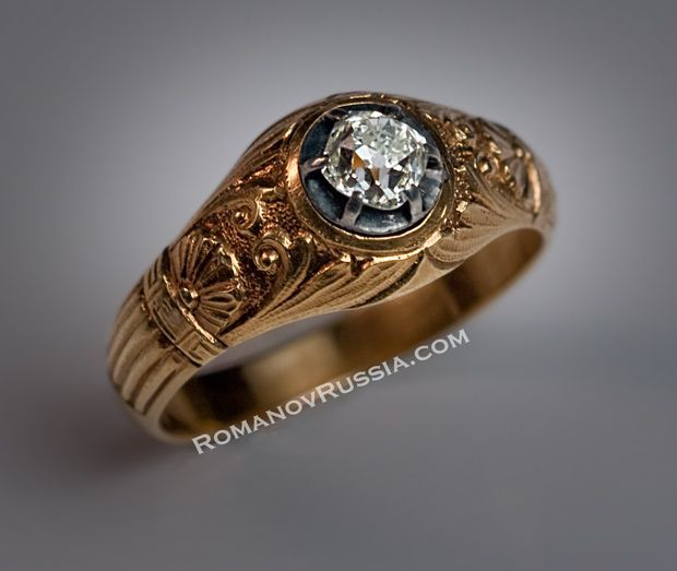 Vintage Russian Solitaire Diamond Mens Gold Ring from romanovrussia