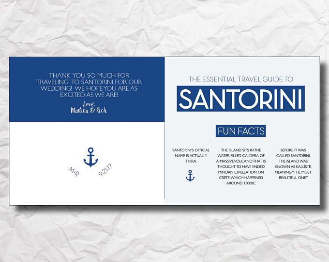 Santorini Greece Custom Welcome Brochure Map Pamphlet Template - phamplet template