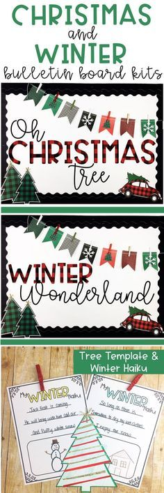 Christmas & Winter Bulletin Board or Door Decor - Buffalo Check Theme #rabulletinboards