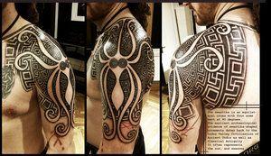 Greek Swastika shoulderpiece by *Meatshop-Tattoo on deviantART