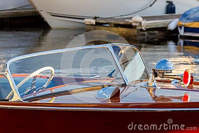 Classic wooden boat air horn and head light
