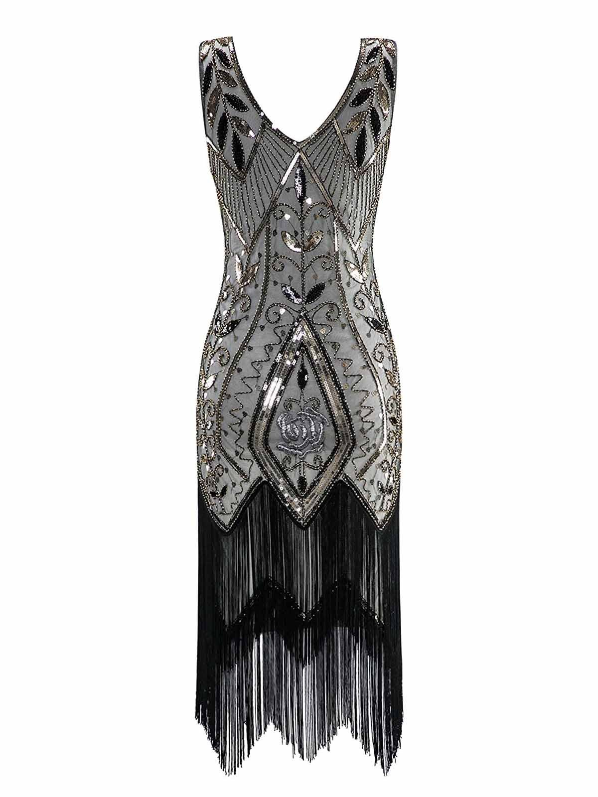 d85c7608398 1920s Sequined Fringe Dress – Retro Stage - Chic Vintage Dresses and  Accessories
