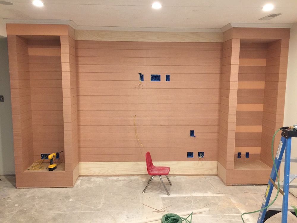 A Diy Shiplapped Built In Entertainment Center Built In Entertainment Center Diy Entertainment Center Entertainment Center
