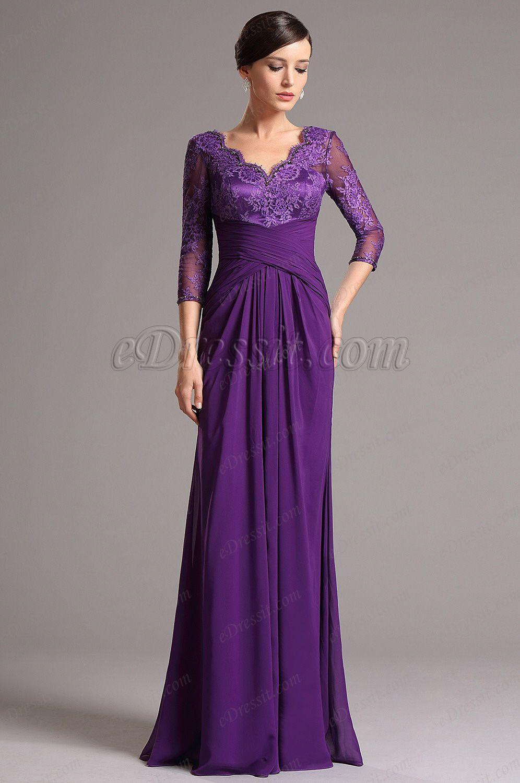 Purple Lace Top Long Sleeves Mother of the Bride Dress | Vestidos de ...