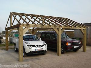 Wooden Garden Shelter Frame Gazebo Cart Lodge Car Port Canopy Kit 6m x 4.8m & Wooden Garden Shelter Frame Gazebo Cart Lodge Car Port Canopy ...