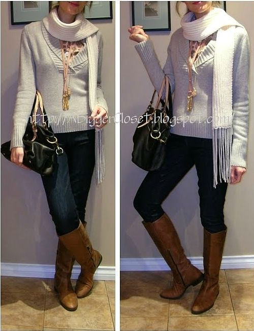 Layered necklaces and silk tunic