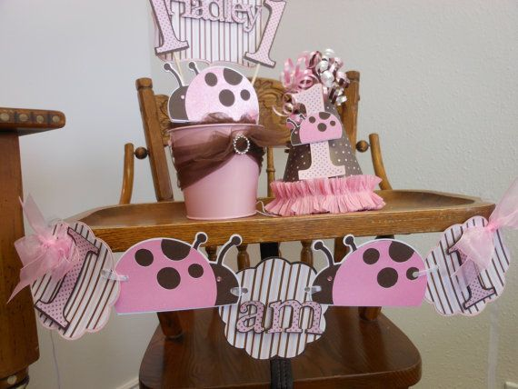 pink & brown lady bug 1st birthday themes | 1st Birthday Sweet Celebrations Package by ASweetCelebration, $269.00