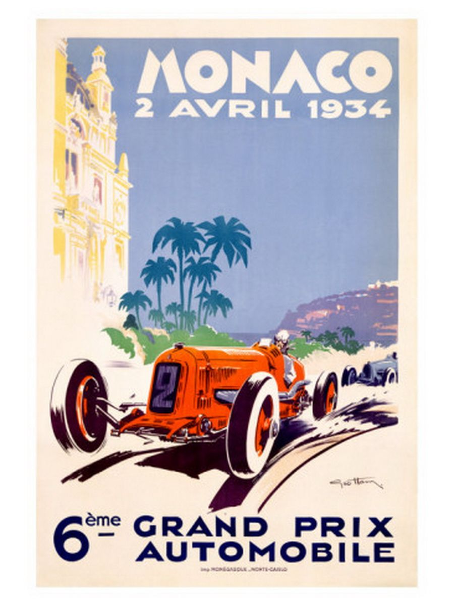 1936 Automotive Poster Monaco Grand Prix Vintage Style Poster 20x30