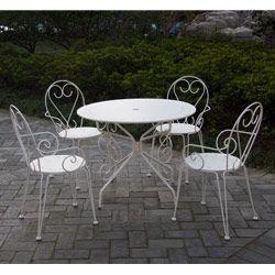Salon de jardin métal blanc \'ROMANCE\' : 1 table ronde + 4 fauteuils ...