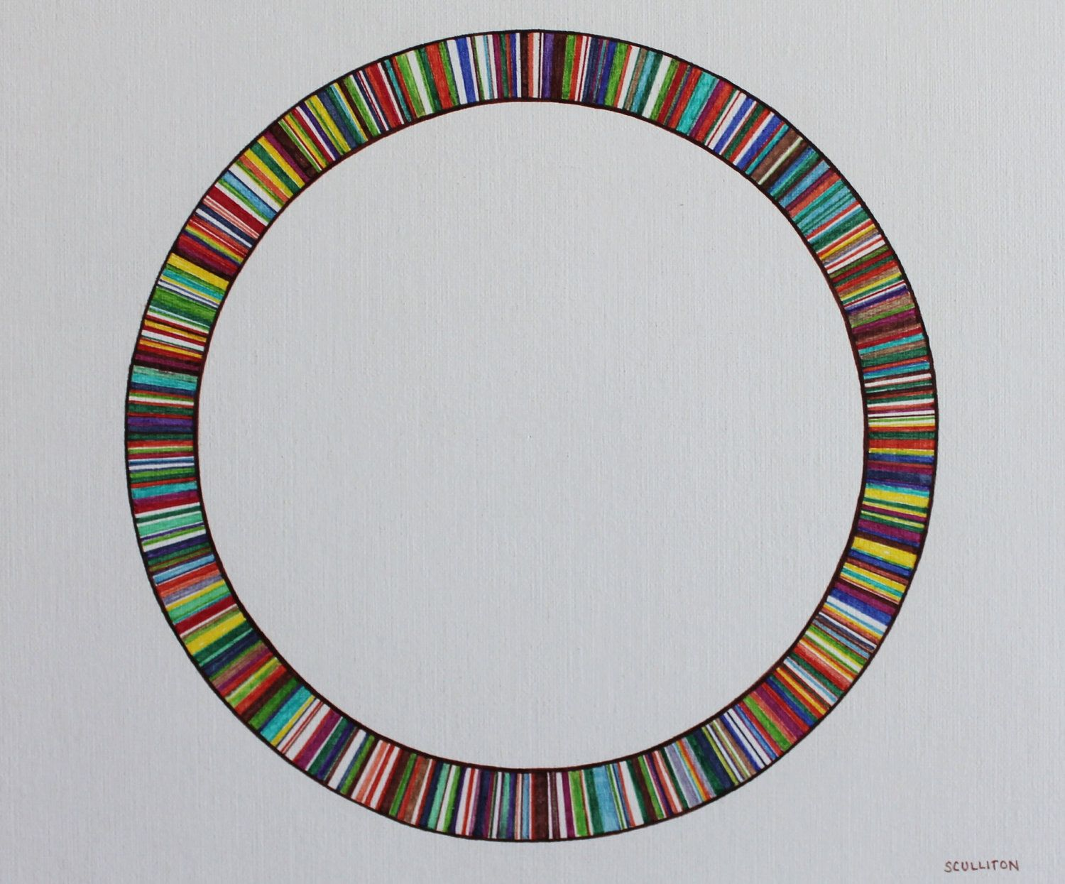 This colorful circle is of circular DNA, inspired by the genome of Haemophilus influenzae which was the first cellular genome to be sequenced, by D. Fleischmann et al. The researchers identified potential protein-coding regions in the H. influenzae genome of which were designated by colored bars in the circular genome.