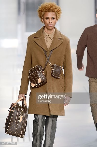 Accessories man bag detail on the runway at the Louis Vuitton Autumn Winter 2015 fashion show during Paris Menswear Fashion Week on January 22, 2015 in Paris, France.