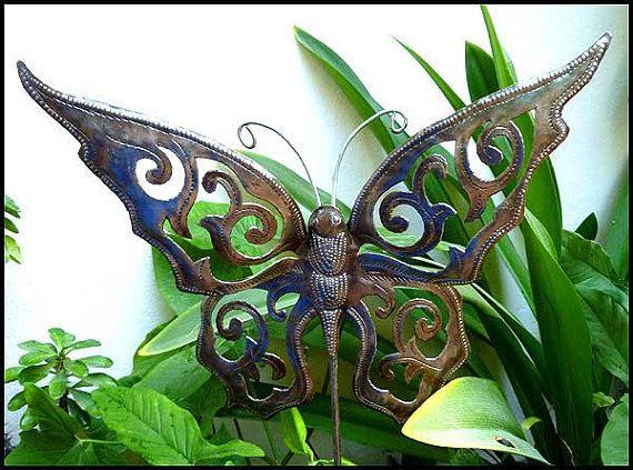 Butterfly Plant Stick, Garden Art, Metal Butterfly, Metal Plant