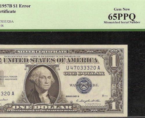GEM 1957 B $1 DOLLAR MISMATCHED S/N 370/470 SILVER CERTIFICATE ERROR ...
