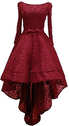 5030bbbde1 New Rong store Women s Lace High Low Long Sleeve Prom Evening Dress Beads  online.   109.99  from top store offerdressforyou