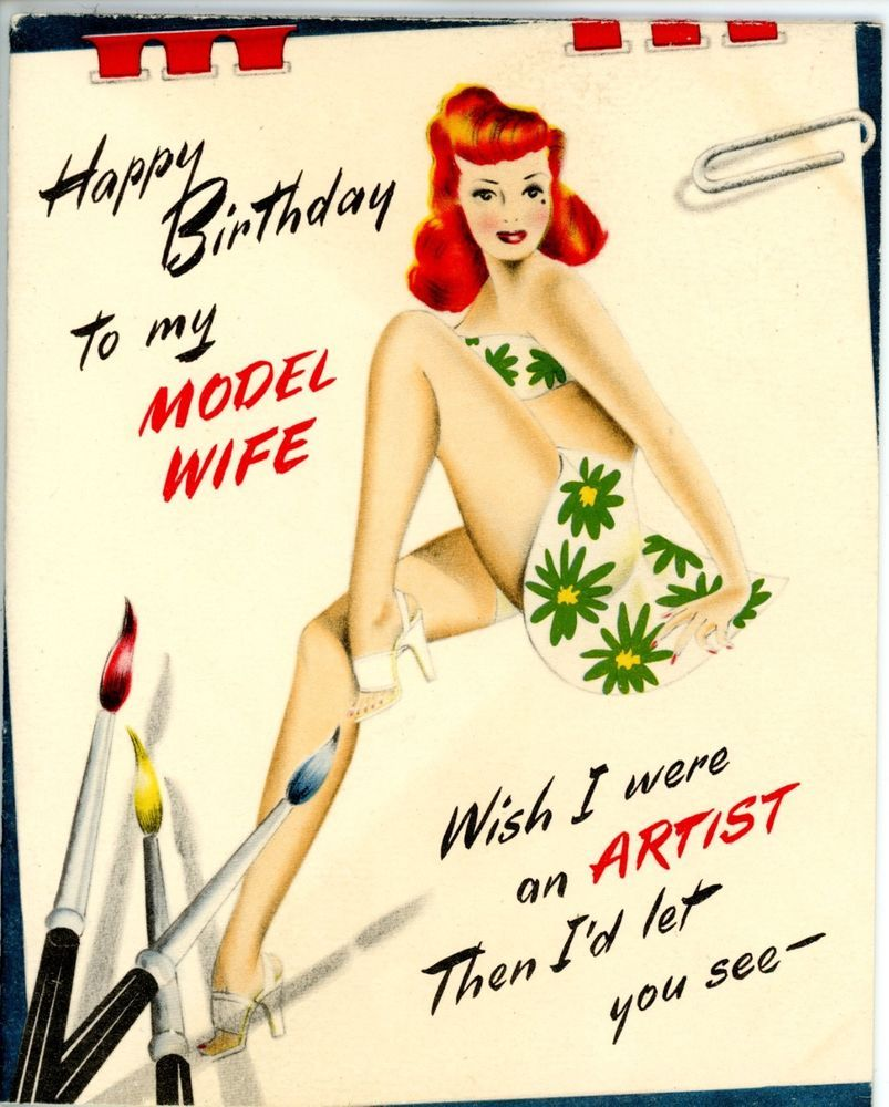 Vintage Norcross Birthday Greeting Card Model Wife Sexy Pin Up Gal