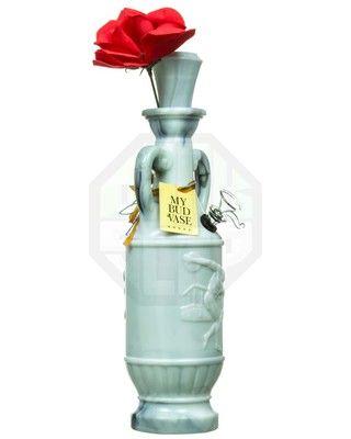Beautiful white glass flower vase bong pipe rig