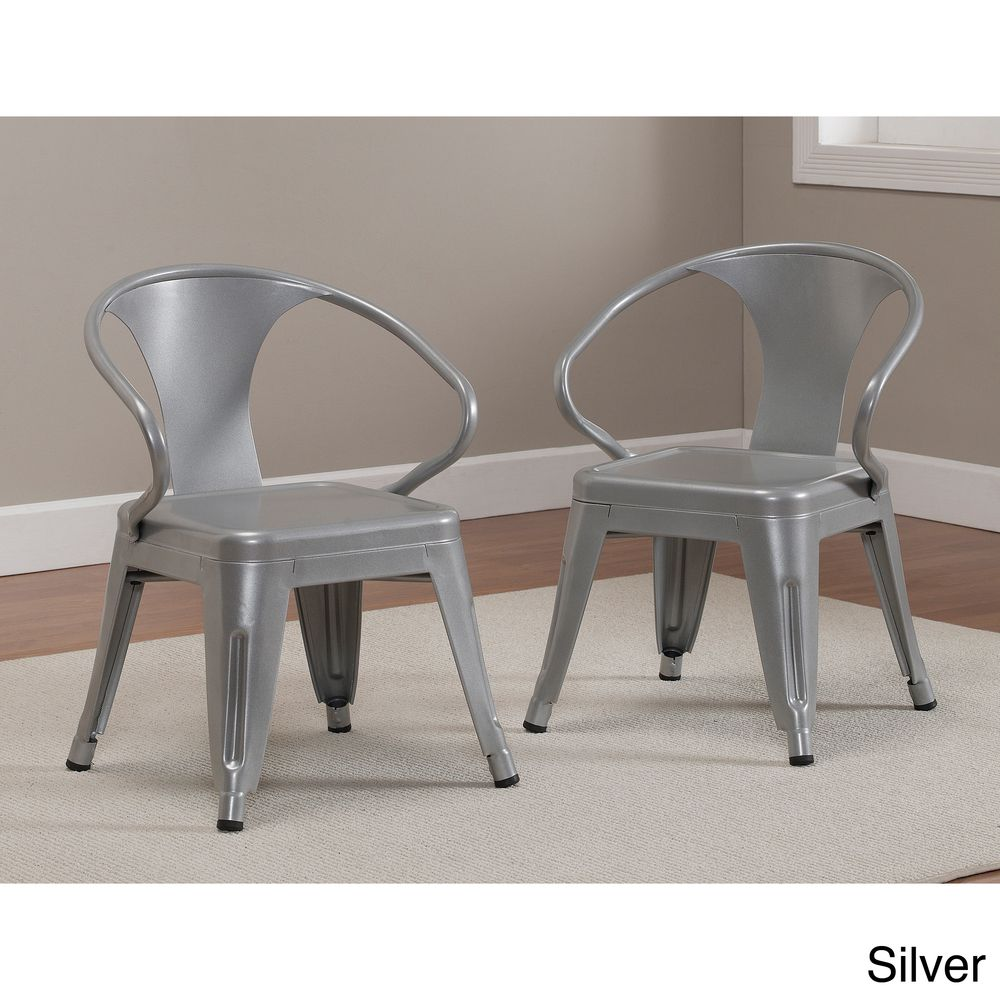 Superb Kids Tabouret Stacking Chairs (Set Of 2) (White) (Metal)