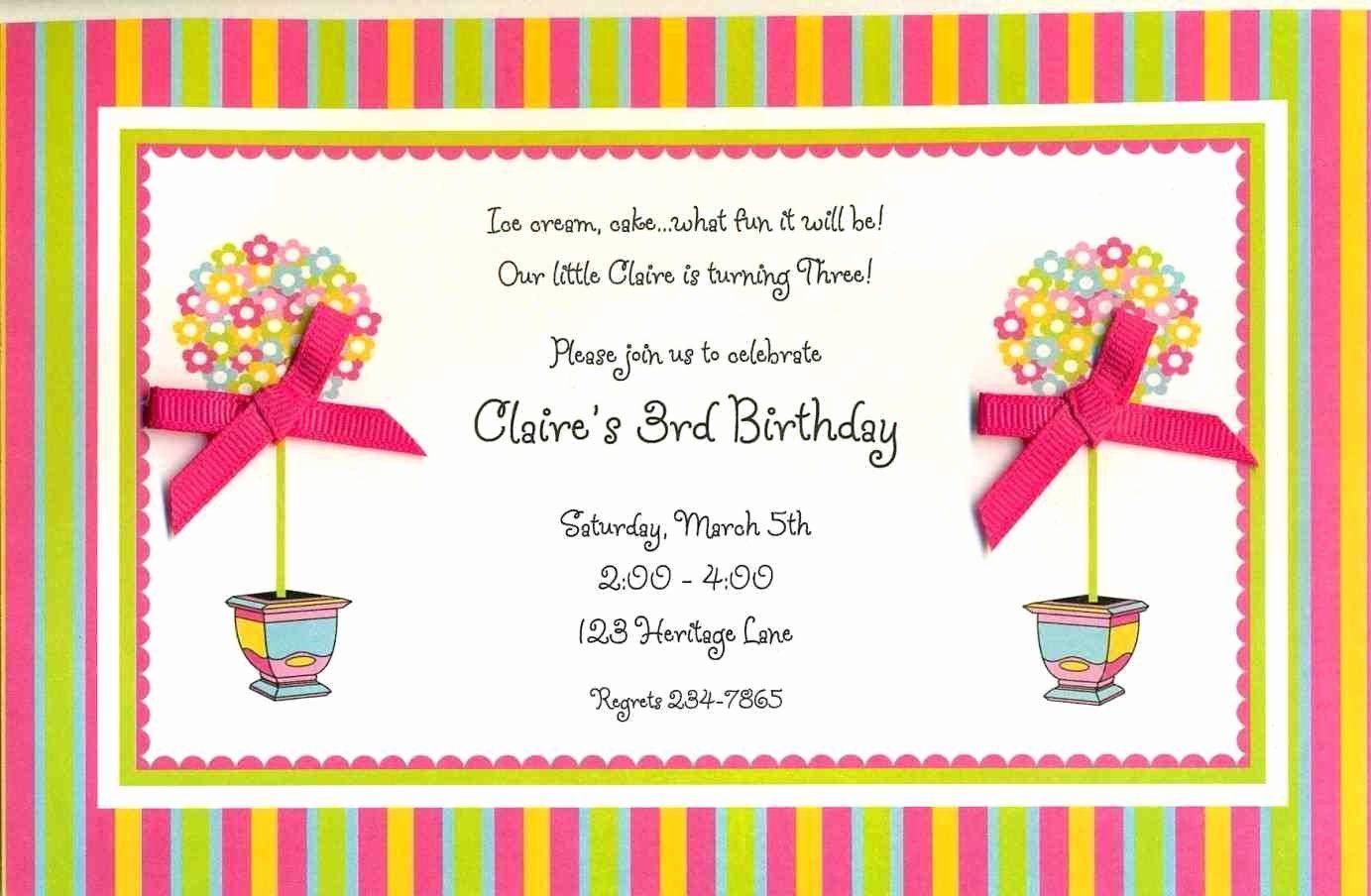 Sample Birthday Party Invitation Wording New 5th Birthday