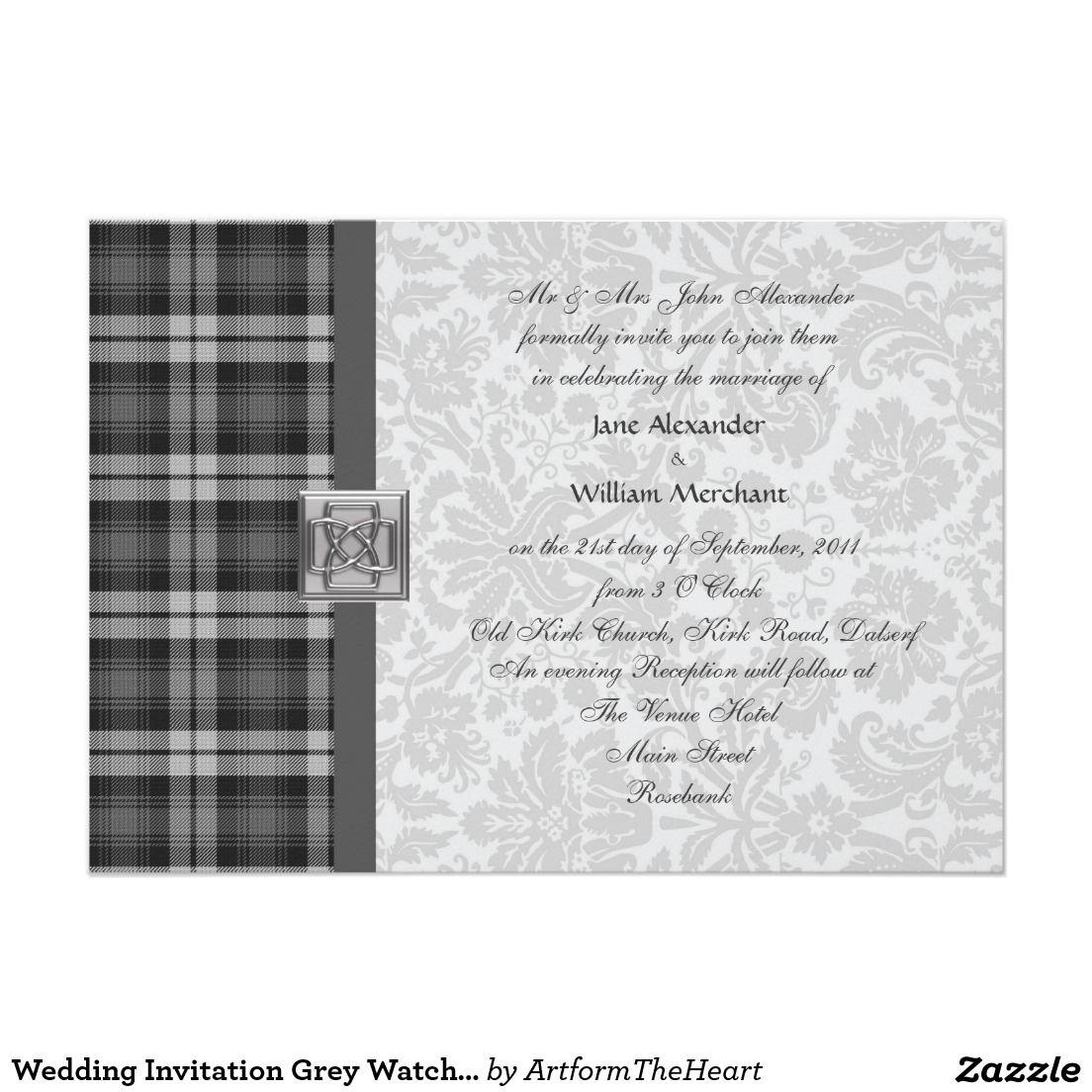 Wedding Invitation Grey Watch Tartan And Damask Damasks And Wedding