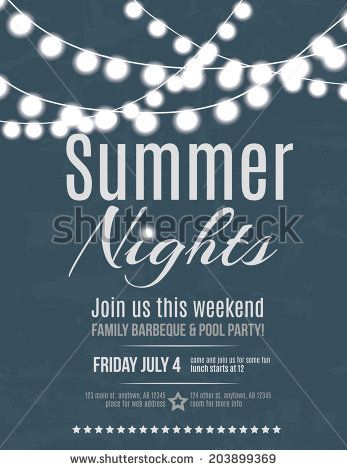 Elegant Summer Night Party Invitation Flyer Template  Stock