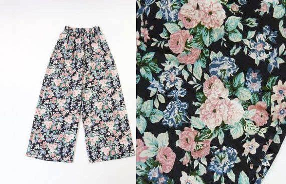 VINTAGE 1990s Floral Pants Wide Leg Black Pastel Pink Small