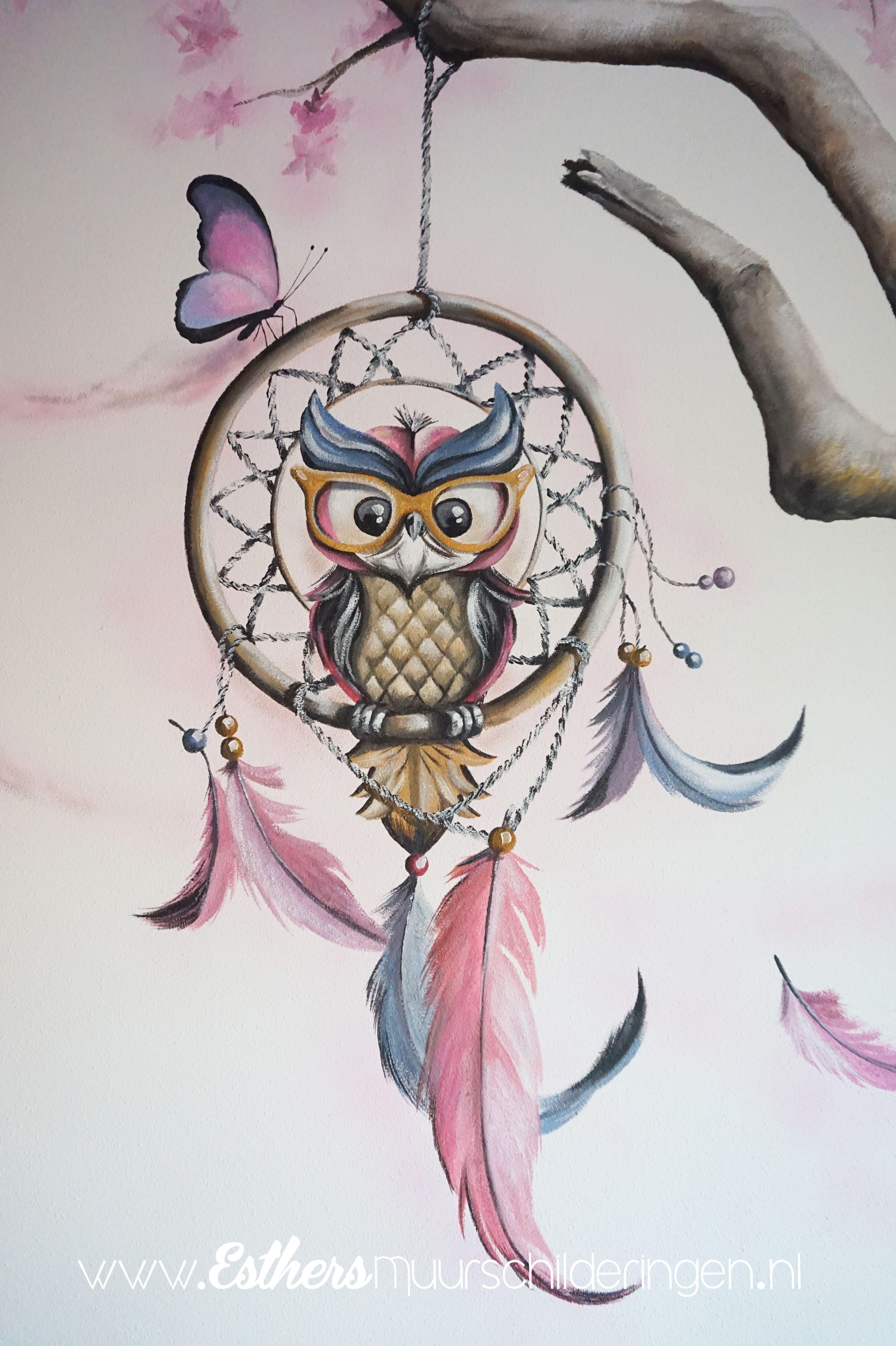 Pin Op Muurschildering Meisjeskamer
