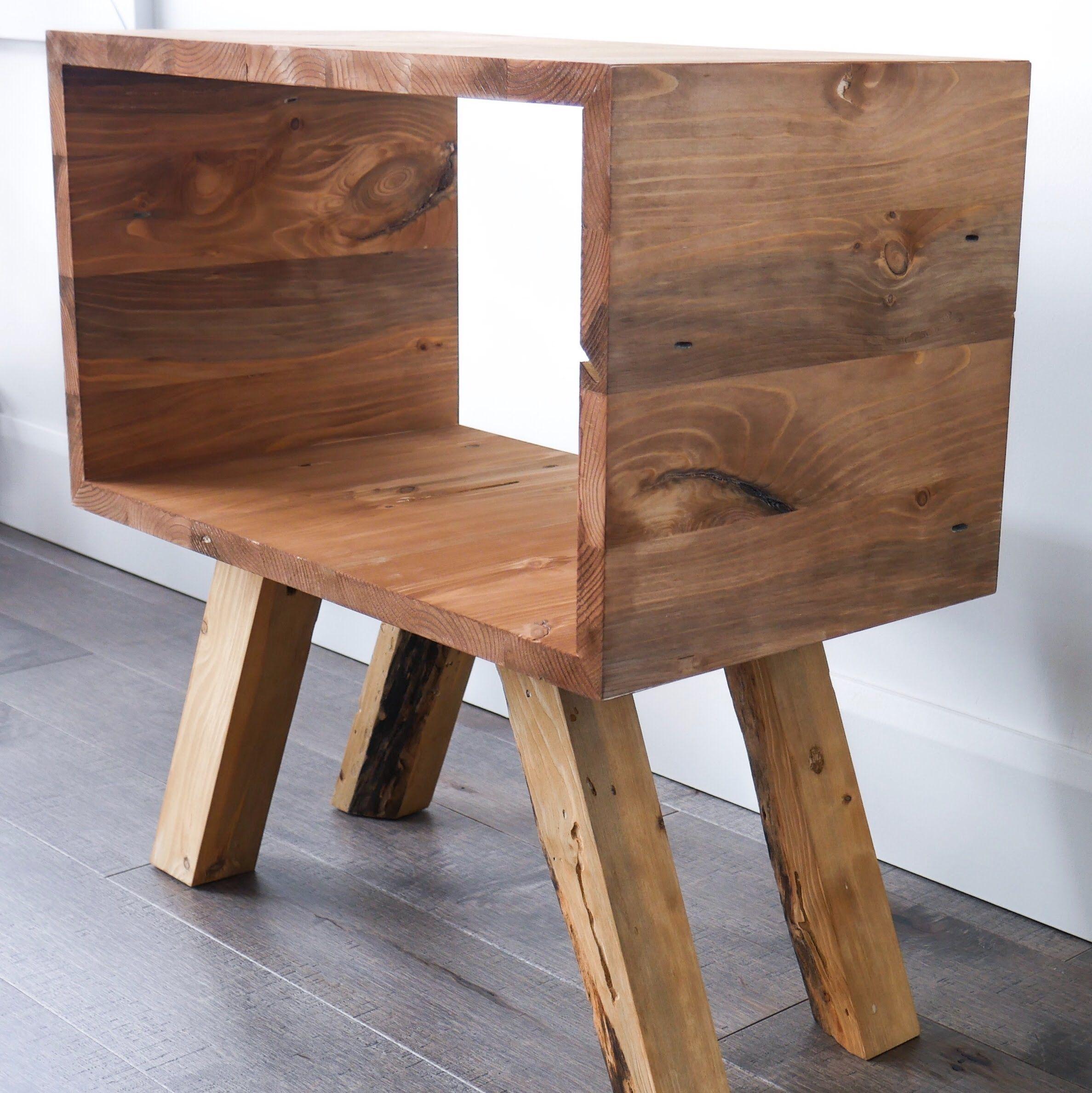 Table de nuit table d appoint pin bois ébénisterie diy fait