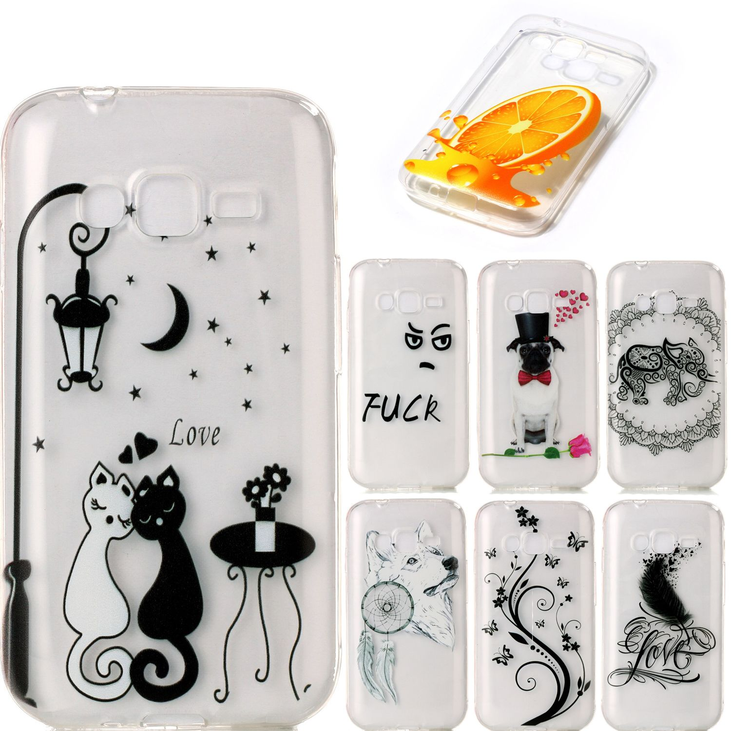 Soft silicone TPU Fundas for Samsung Galaxy J1 Mini Prime cases cover lemon Cute puppy back