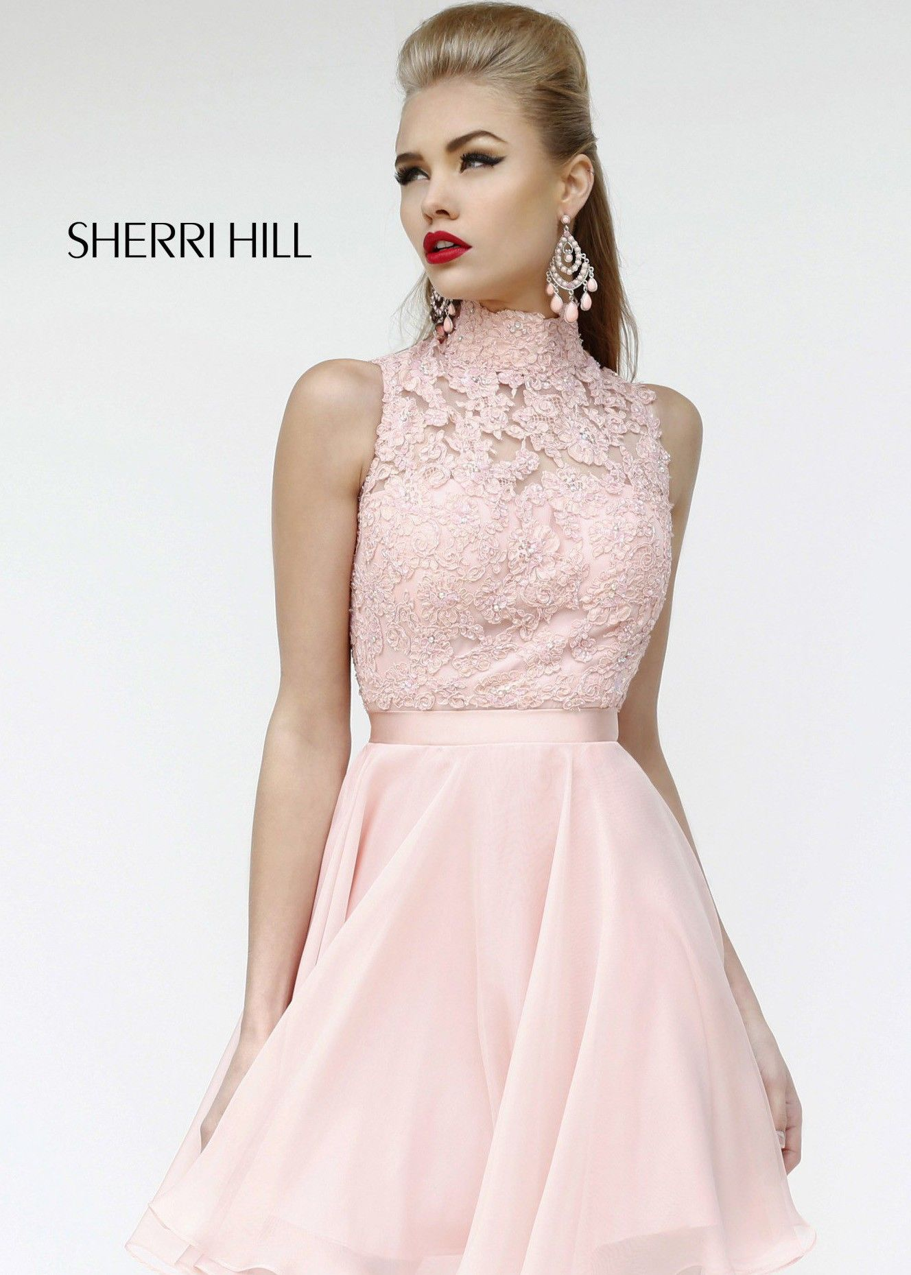 Short prom style wedding dresses  Sherri Hill  Lace Short Cocktail Dress A perfect summertime