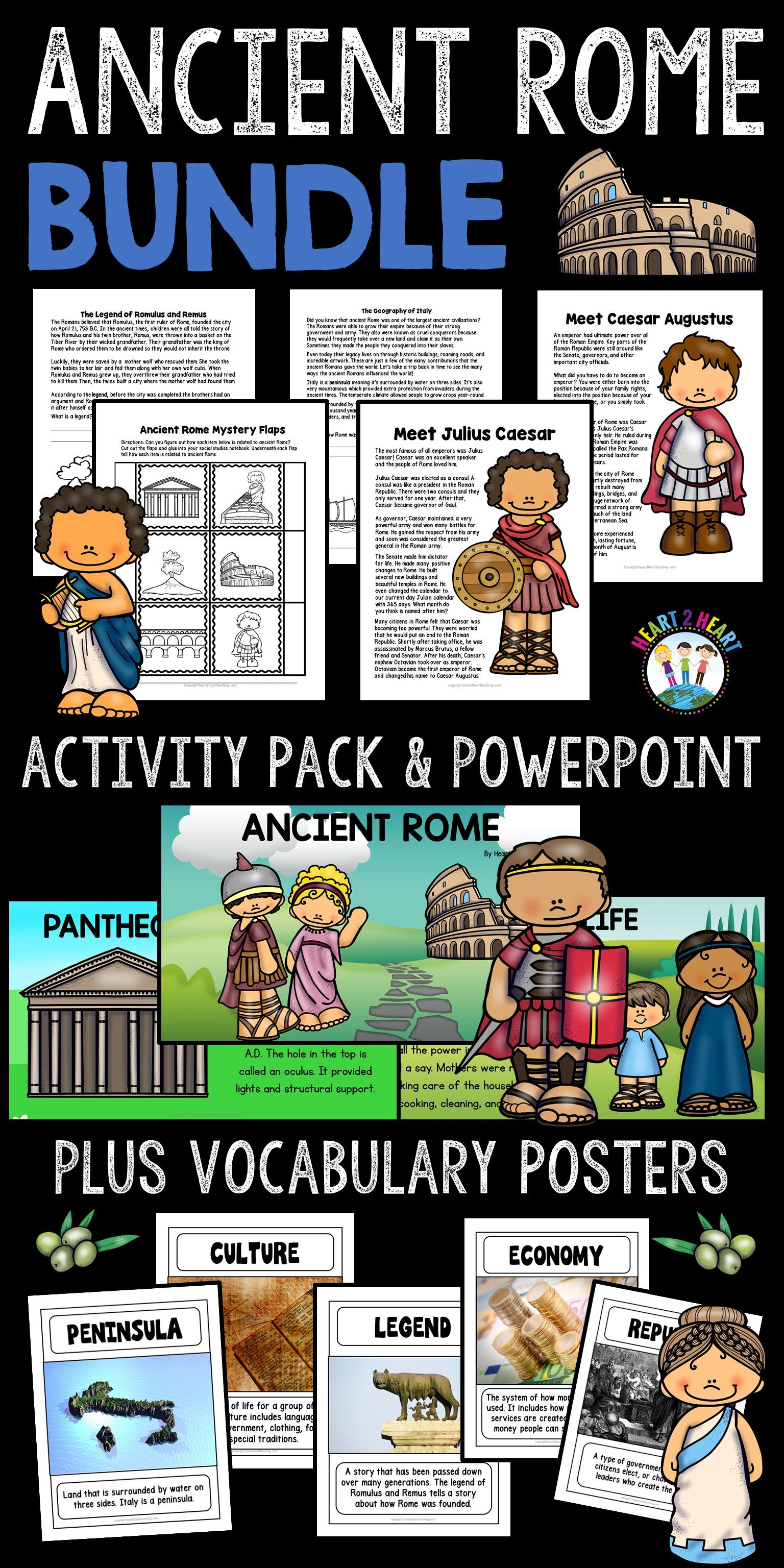 Ancient Rome Activities Bundle With Articles Timeline