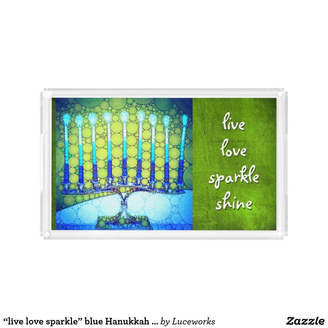 Live Love Sparkle Blue Hanukkah Menorah Photo Acrylic Tray Lighting Diagram