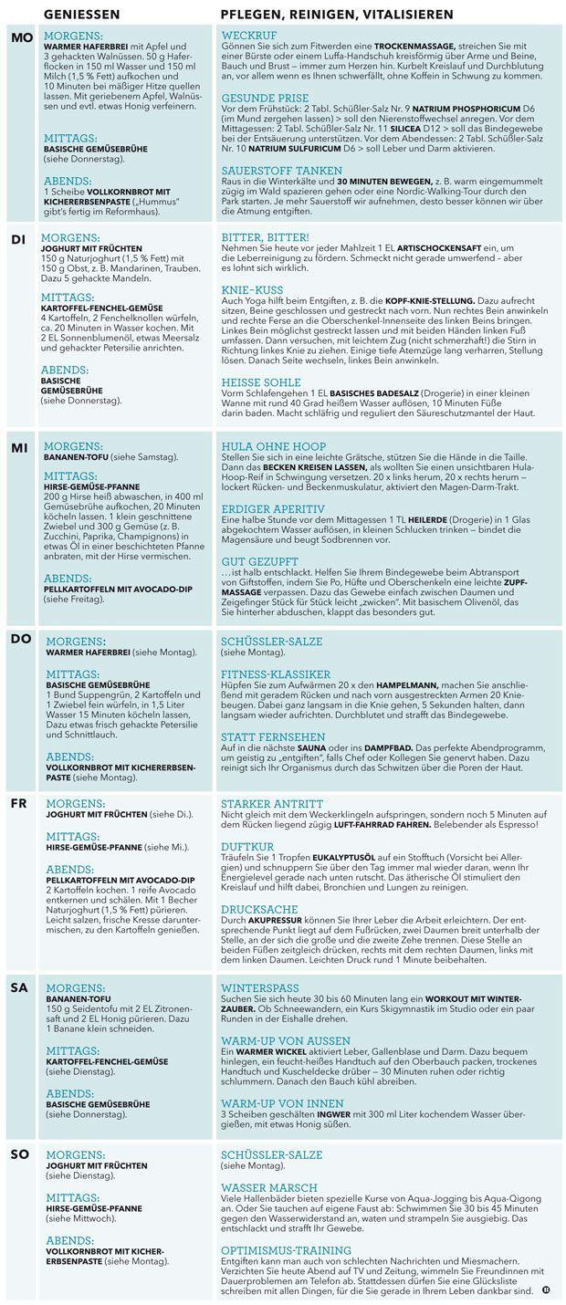 Detox-Wochenplan: Entgiftung auf die Schnelle #detox #entgiftung #schnelle #wochenplan #healthyrecip...