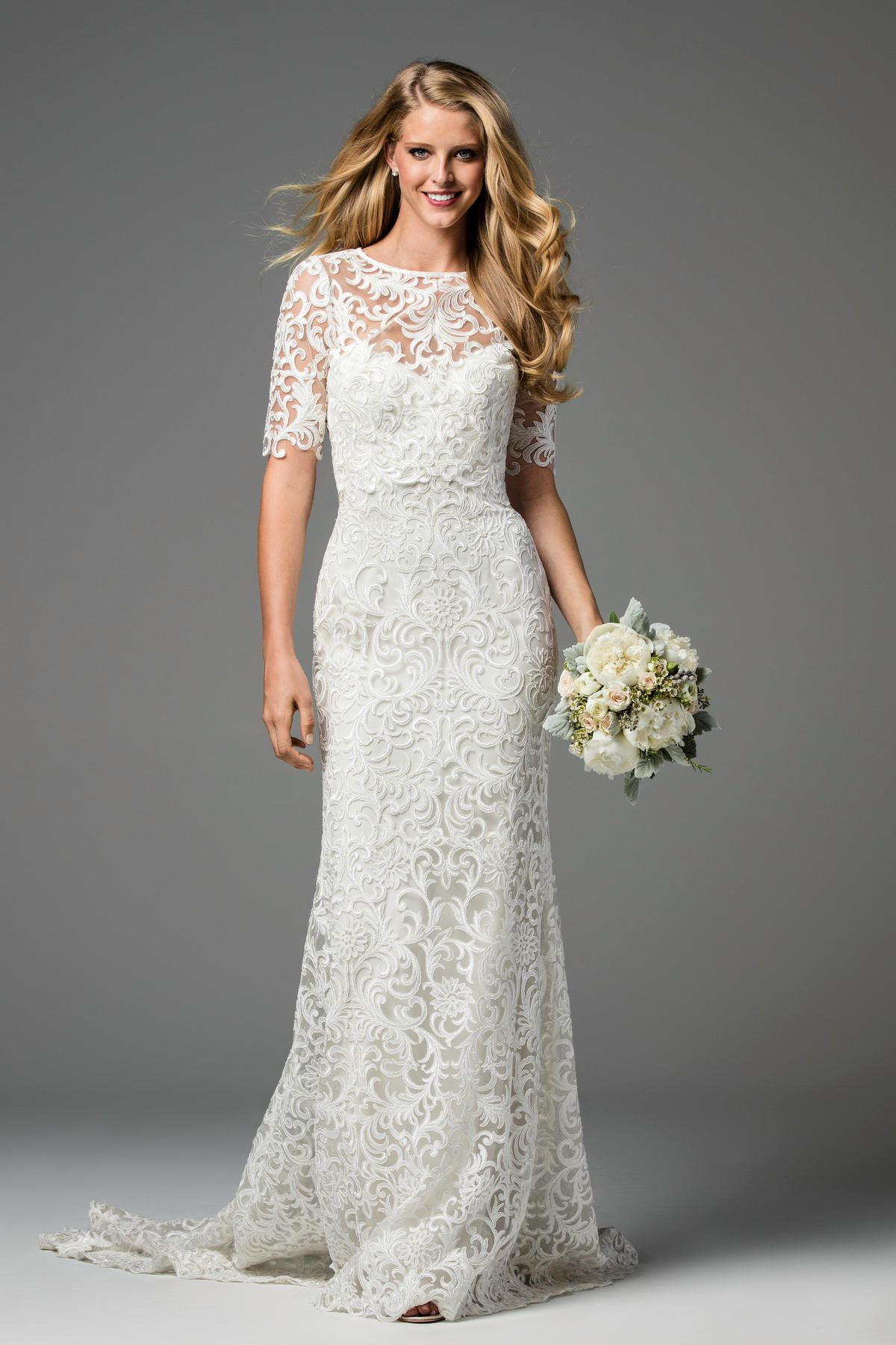Mature bride wedding dresses  We absolutely love that Watters paired the Pauline gown and the