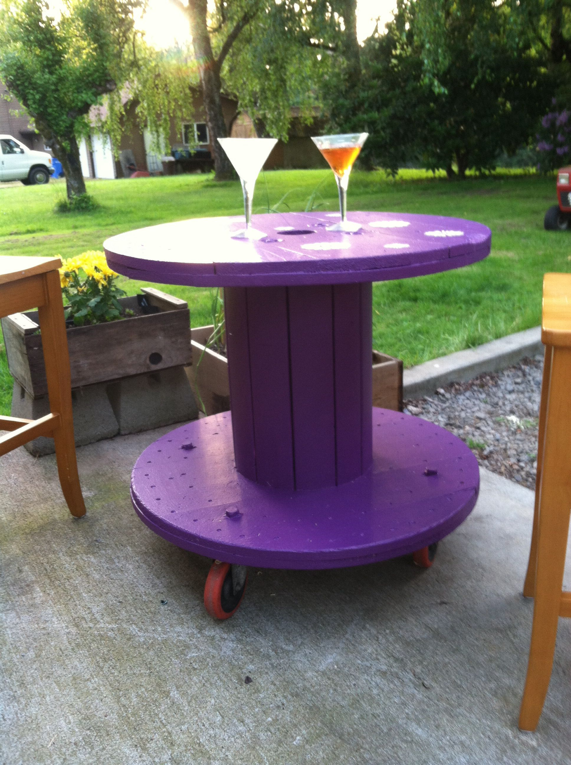 Patio table made from a spool and wheels That s it Just paint