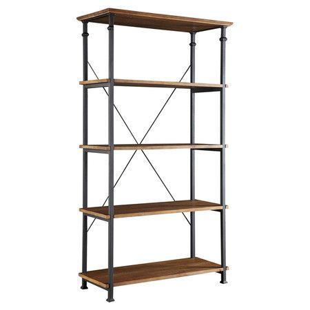Display Leather Bound Tomes And Objets D Art With This Industrial Chic Pine Wood Bookcase Showcasing 4 She Rustic Bookcase Wide Bookshelf Industrial Bookcases