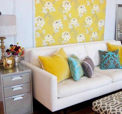 bright yellow wallpaper and retro fun living room | Wall decoration ...