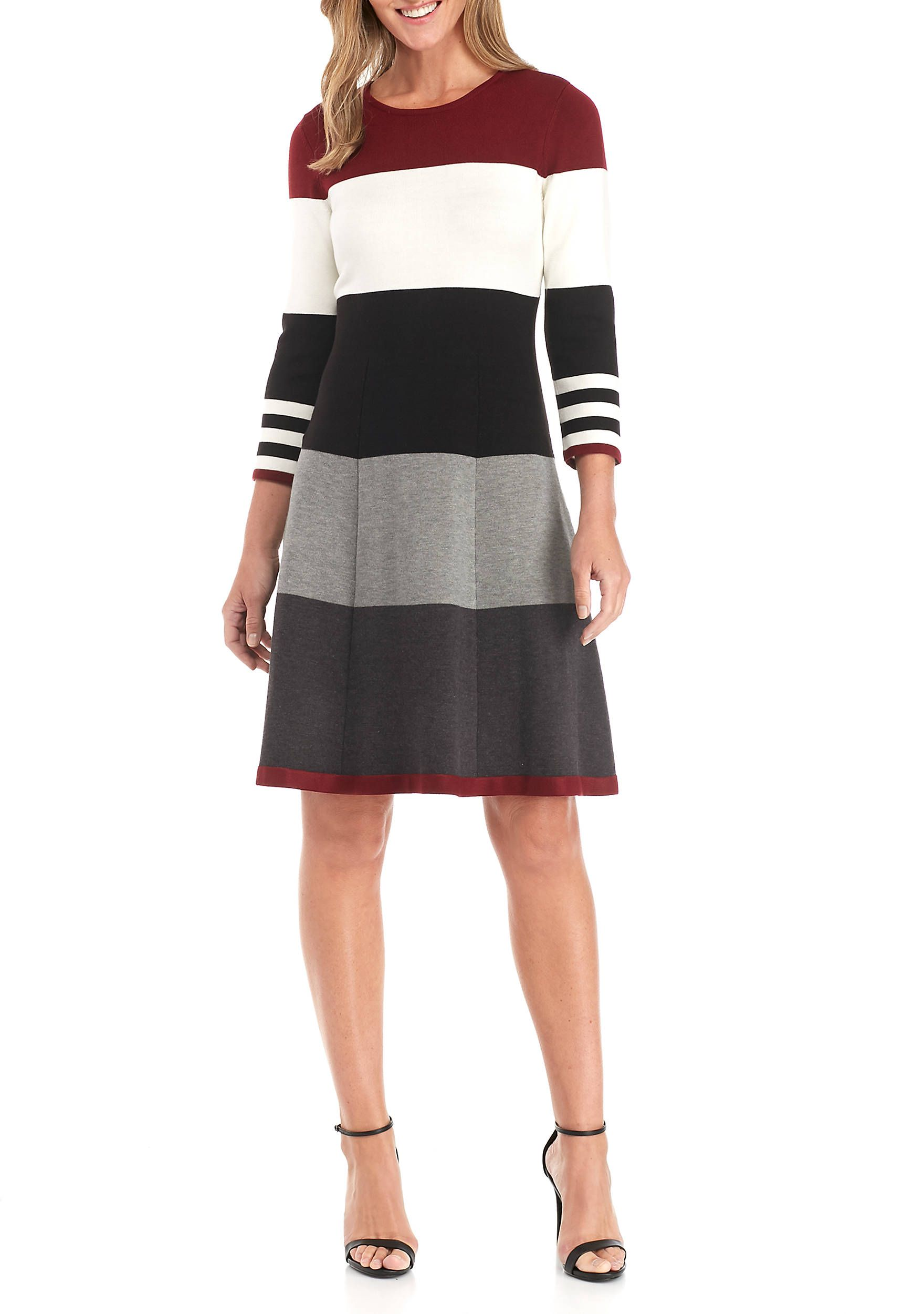 426c46f8147 Jessica Howard Long Sleeve Wide Stripe Sweater Dress