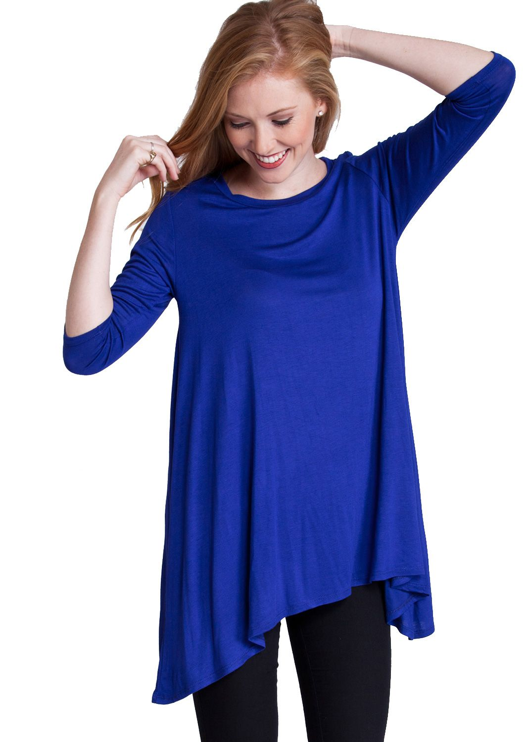 Three Quarter Sleeve Trapeze Top T1019RB, clothing, clothes, womens clothing, jeans, tops, womens dress